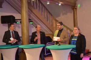 Ralf Schnörr, Gerald Diem, Uwe Kaiser und Isabell Menschl bei der Talkrunde
